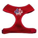 Paw Flag USA Screen Print Soft Mesh Harness Red Small