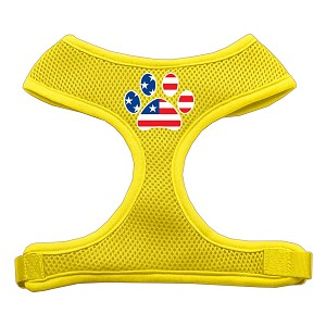 Paw Flag USA Screen Print Soft Mesh Harness Yellow Large