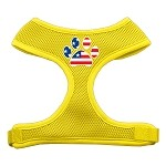 Paw Flag USA Screen Print Soft Mesh Harness Yellow Small