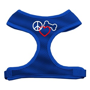 Peace, Love, Bone Design Soft Mesh Harnesses Blue Small
