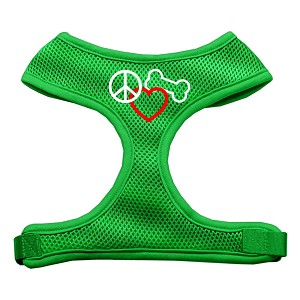 Peace, Love, Bone Design Soft Mesh Harnesses Emerald Green Extra Large