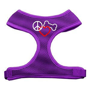 Peace, Love, Bone Design Soft Mesh Harnesses Purple Medium