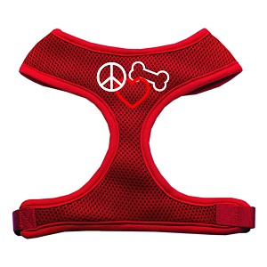 Peace, Love, Bone Design Soft Mesh Harnesses Red Medium