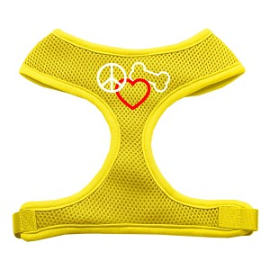 Peace, Love, Bone Design Soft Mesh Harnesses Yellow Small