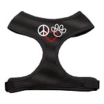 Peace, Love, Paw Design Soft Mesh Harnesses Black Large