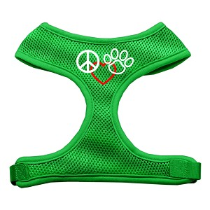 Peace, Love, Paw Design Soft Mesh Harnesses Emerald Green Small