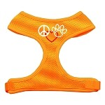 Peace, Love, Paw Design Soft Mesh Harnesses Orange Extra Large