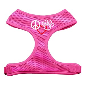 Peace, Love, Paw Design Soft Mesh Harnesses Pink Large