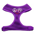 Peace, Love, Paw Design Soft Mesh Harnesses Purple Large