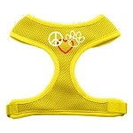 Peace, Love, Paw Design Soft Mesh Harnesses Yellow Small