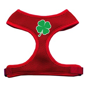 Shamrock Screen Print Soft Mesh Harness Red Large
