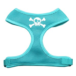 Skull Crossbones Screen Print Soft Mesh Harness Aqua Large