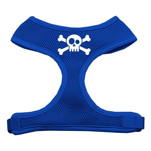 Skull Crossbones Screen Print Soft Mesh Harness Blue Medium