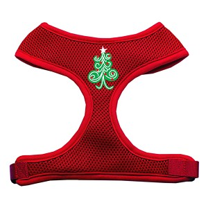 Swirly Christmas Tree Screen Print Soft Mesh Harness Red Small