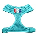 USA Star Screen Print Soft Mesh Harness Aqua Small