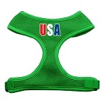 USA Star Screen Print Soft Mesh Harness Emerald Green Small