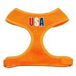 USA Star Screen Print Soft Mesh Harness Orange Small