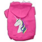 Unicorns Rock Embroidered Dog Hoodie Bright Pink S (10)