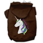 Unicorns Rock Embroidered Dog Hoodie Brown S (10)