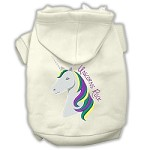 Unicorns Rock Embroidered Dog Hoodie Cream XXXL(20)
