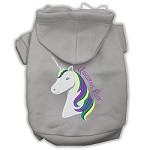 Unicorns Rock Embroidered Dog Hoodie Grey XS (8)
