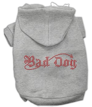 Bad Dog Rhinestone Hoodies Grey XL