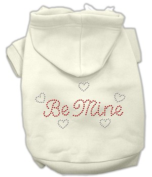 Be Mine Rhinestone Hoodie Cream M