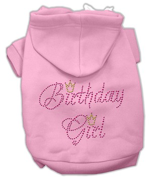 Birthday Girl Rhinestone Hoodie Light Pink S