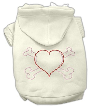 Heart and Crossbones Rhinestone Hoodie Cream S