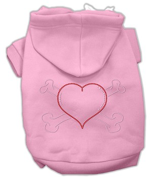 Heart and Crossbones Rhinestone Hoodie Light Pink XL (16)