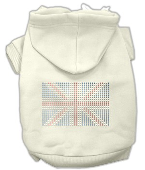 British Flag Rhinestone Hoodie Cream XL