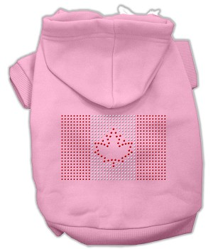 Canadian Flag Rhinestone Hoodie Light Pink XXL (18)