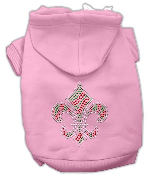 Holiday Fleur de lis Rhinestone Hoodie Light Pink XL (16)