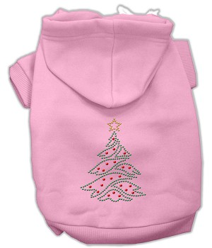 Christmas Tree Rhinestone Hoodie Light Pink S (10)
