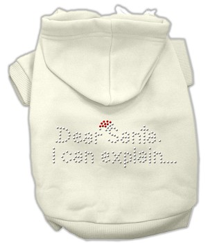 Dear Santa I Can Explain Rhinestone Hoodie Cream L (14)