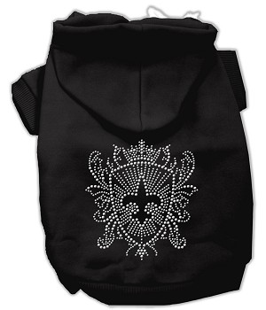 Rhinestone Fleur De Lis Shield Hoodies Black XL (16)