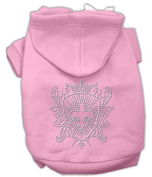 Rhinestone Fleur De Lis Shield Hoodies Light Pink L (14)