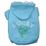 Four Leaf Clover Outline Rhinestone Hoodie Baby Blue XL