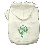 Four Leaf Clover Outline Rhinestone Hoodie Cream XS
