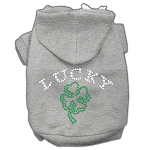 Four Leaf Clover Outline Rhinestone Hoodie Grey L