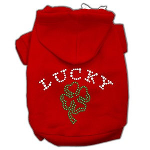 Four Leaf Clover Outline Rhinestone Hoodie Red XL (16)