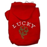 Four Leaf Clover Outline Rhinestone Hoodie Red XS