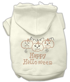Happy Halloween Rhinestone Hoodies Cream S