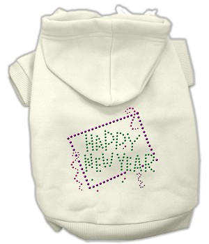 Happy New Year Rhinestone Hoodies Cream M