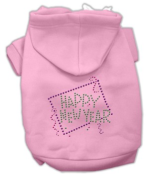 Happy New Year Rhinestone Hoodies Light Pink XXL (18)