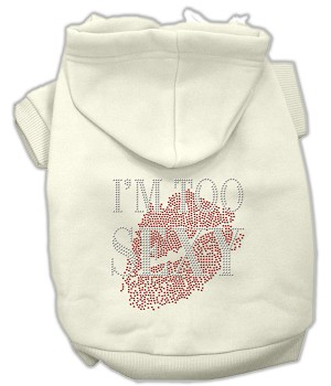 I'm Too Sexy Rhinestone Hoodies Cream XS (8)