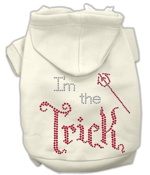 I'm the Trick Rhinestone Hoodies Cream XS (8)