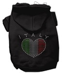 Italian Rhinestone Hoodies Black XL