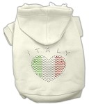 Italian Rhinestone Hoodies Cream XL
