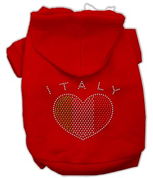 Italian Rhinestone Hoodies Red M (12)